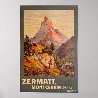 Zermatt,Mont Cervin,Switzerland,Ski Poster