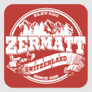 Zermatt Old Circle Red Square Sticker