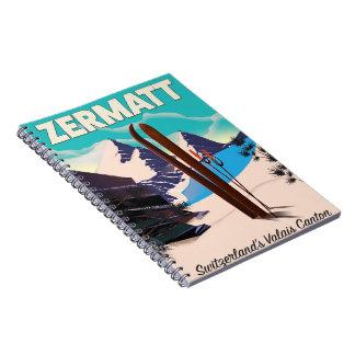 Zermatt Ski vacation poster Spiral Notebook