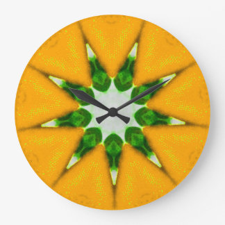 Zesty Lemon Burst Fractal Large Clock