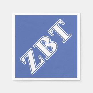 Zeta Beta Tau White and Blue Letters Paper Napkin