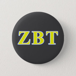 Zeta Beta Tau Yellow and Blue Letters 6 Cm Round Badge