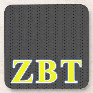 Zeta Beta Tau Yellow and Blue Letters Coaster