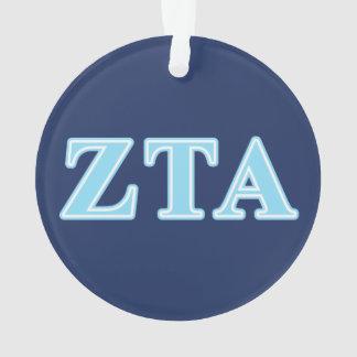 Zeta Tau Alpha Baby Blue Letters Ornament