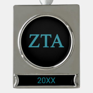 Zeta Tau Alpha Lil Big Logo Silver Plated Banner Ornament