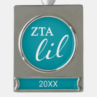 Zeta Tau Alpha Lil Script Silver Plated Banner Ornament