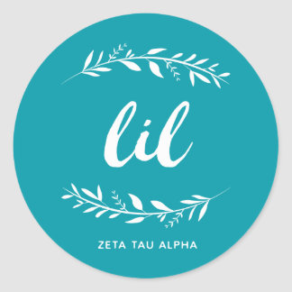 Zeta Tau Alpha Lil Wreath Classic Round Sticker