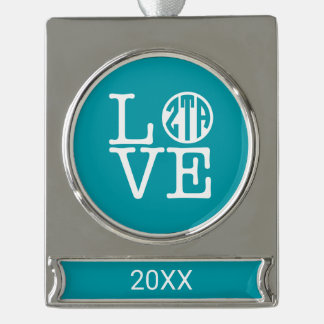 Zeta Tau Alpha Love Silver Plated Banner Ornament