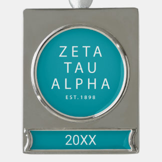 Zeta Tau Alpha Modern Type Silver Plated Banner Ornament