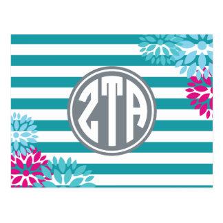 Zeta Tau Alpha   Monogram Stripe Pattern Postcard