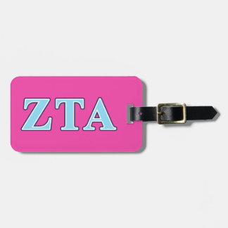Zeta Tau Alpha Navy Blue and Baby Blue Letters Luggage Tag