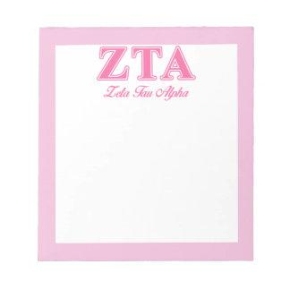 Zeta Tau Alpha Pink Letters Notepad