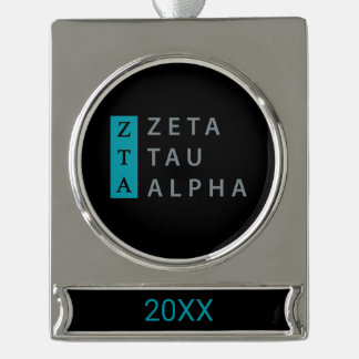 Zeta Tau Alpha Stacked Silver Plated Banner Ornament