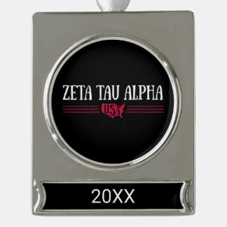 Zeta Tau Alpha USA Silver Plated Banner Ornament