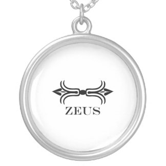 Zeus lightning bolt (Engravers Font) Silver Plated Necklace
