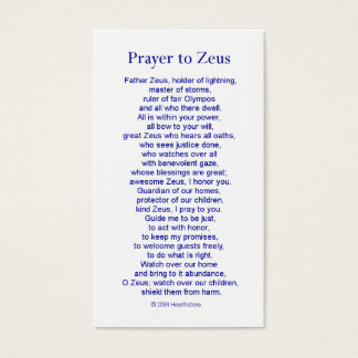 Zeus Prayer Card