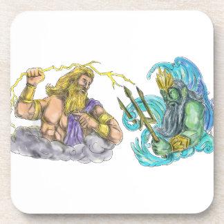 Zeus Thunderbolt Vs Poseidon Trident Tattoo Coaster
