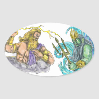 Zeus Thunderbolt Vs Poseidon Trident Tattoo Oval Sticker