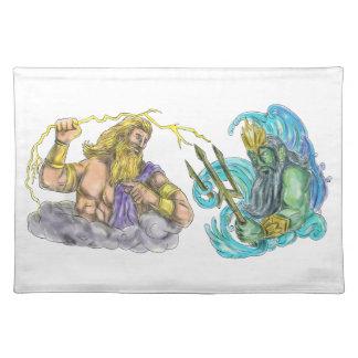 Zeus Thunderbolt Vs Poseidon Trident Tattoo Placemat