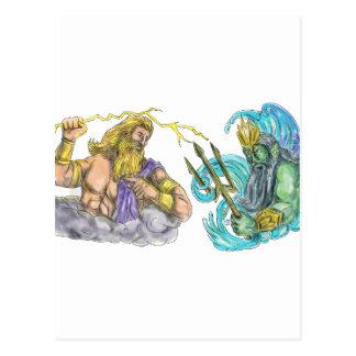 Zeus Thunderbolt Vs Poseidon Trident Tattoo Postcard
