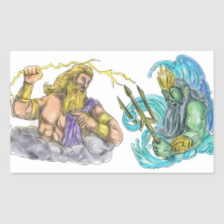 Zeus Thunderbolt Vs Poseidon Trident Tattoo Rectangular Sticker