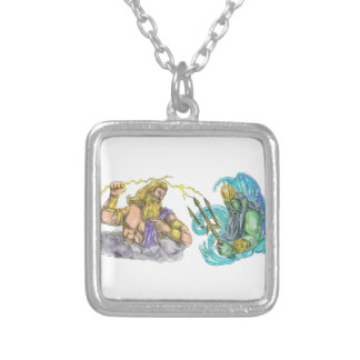 Zeus Thunderbolt Vs Poseidon Trident Tattoo Silver Plated Necklace