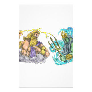 Zeus Thunderbolt Vs Poseidon Trident Tattoo Stationery