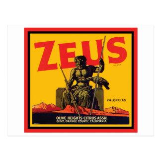Zeus Vintage Crate Label - Olive Hts Citrus Assn. Postcard