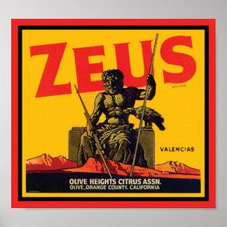 Zeus Vintage Crate Label - Olive Hts Citrus Assn. Poster
