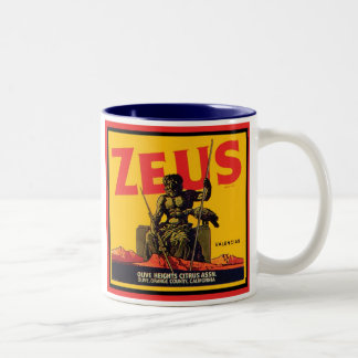 Zeus Vintage Crate Label - Olive Hts Citrus Assn. Two-Tone Coffee Mug