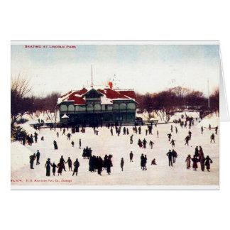 ZHR0030 1908 Vintage Skating at Lincoln Park, Chic Greeting Card