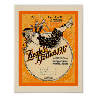Ziegfeld Follies 1917  Sheet Music Cover Copy Poster