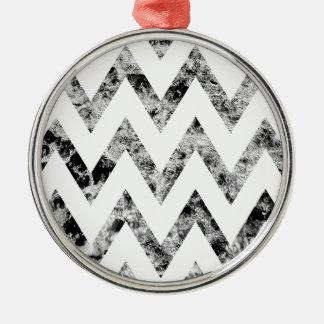 Zig saw Print - black prints blank Black White Silver-Colored Round Decoration