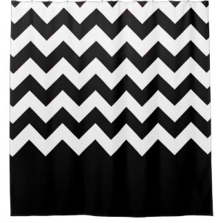 Zig Zag and Solid Pattern Shower Curtain
