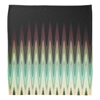 Zig Zag Black Red Teal Gray Pattern Bandana