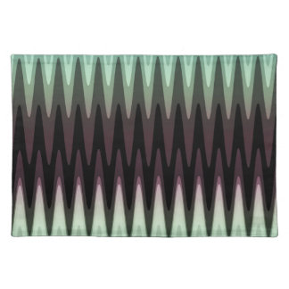 Zig Zag Black Red Teal Gray Pattern Placemat