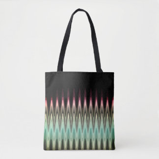 Zig Zag Black Red Teal Gray Pattern Tote Bag