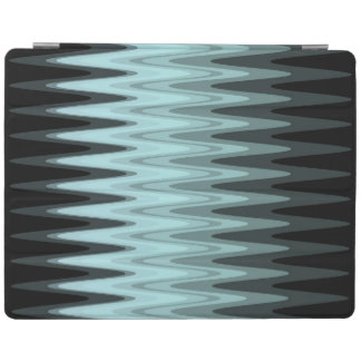 Zig Zag Black Teal Gray Pattern iPad Cover