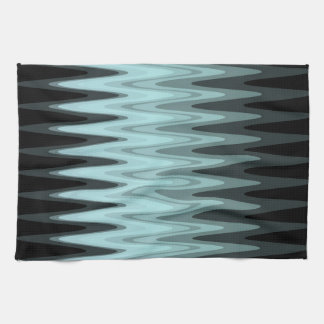 Zig Zag Black Teal Gray Pattern Tea Towel