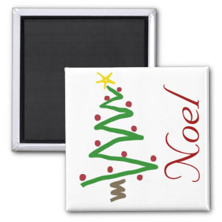 Zig Zag Christmas Tree Painting Square Magnet