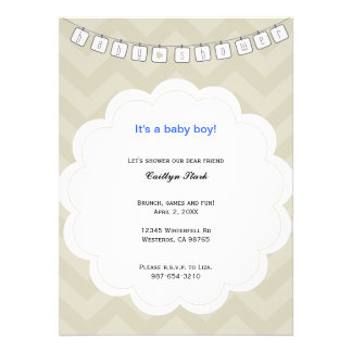 Zig Zag Clothes Line Baby Shower Invite