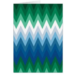 Zig Zag Green Blue Pattern Card