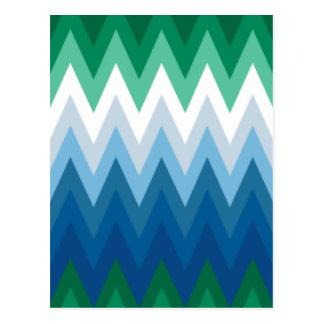 Zig Zag Green Blue Pattern Postcard