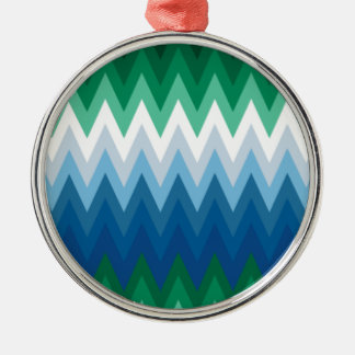 Zig Zag Green Blue Pattern Silver-Colored Round Decoration