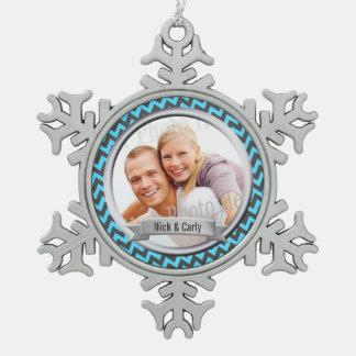 Zig Zag Pattern Photo Keepsake Pewter Snowflake Decoration