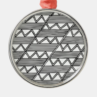 Zig Zag Pattern Silver-Colored Round Decoration