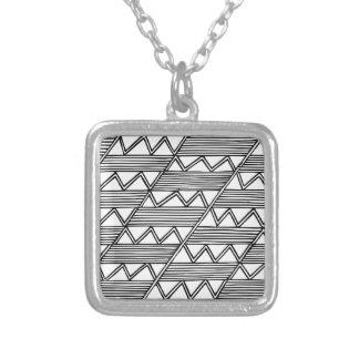 Zig Zag Pattern Silver Plated Necklace