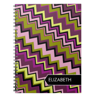 Zig-Zag Pattern with Area For Name Spiral Notebooks