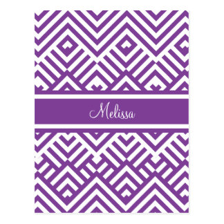 Zig zag pattern with name postcard