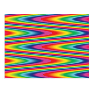 Zig Zag Psychedelic Rainbow Pattern Post Cards